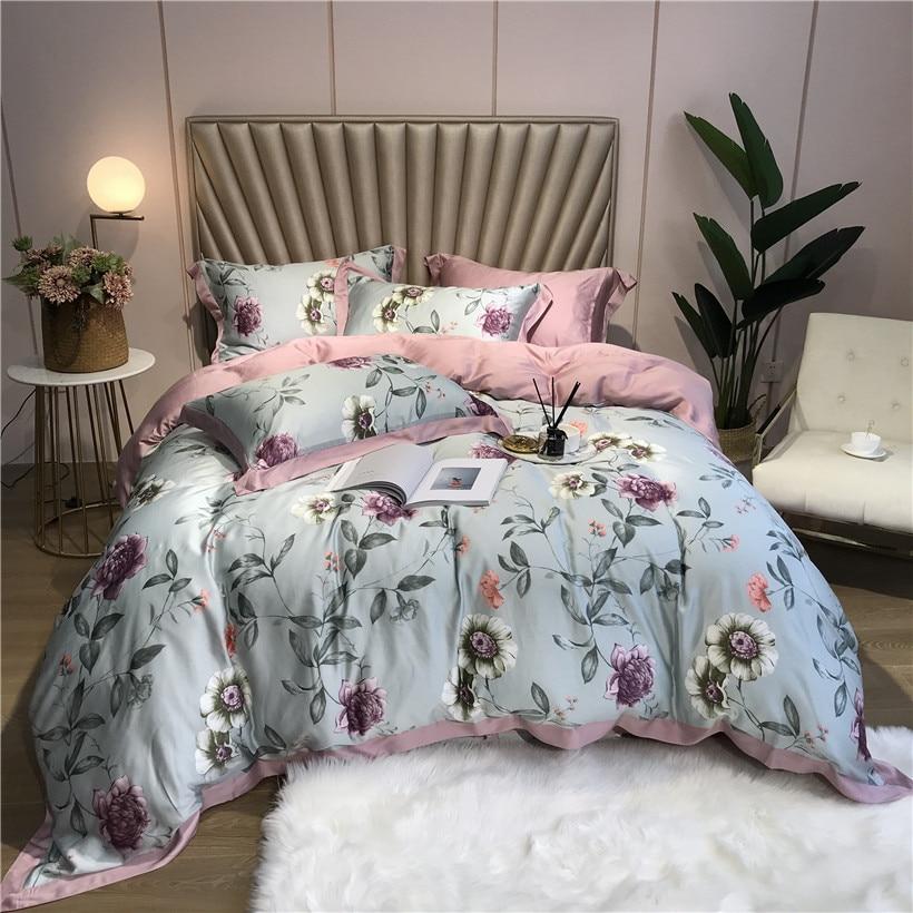 ropa de cama Tencel Silk 4Pcs KING QUEEN SIZE Bedding Set Luxury Duvet Cover Bed sheet