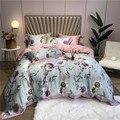 Ropa de cama Tencel de 4 piezas de Rey reina tamaño cama de lujo de cama funda nórdica hoja de cama juego de