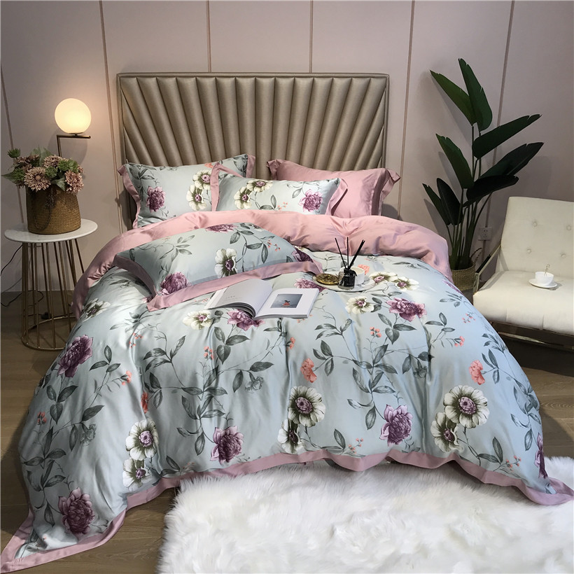 Ropa De Cama Tencel Silk 4Pcs KING QUEEN SIZE Bedding Set Luxury Duvet Cover Bed Sheet Fitted Sheet Bedclothes Dekbedovertrek