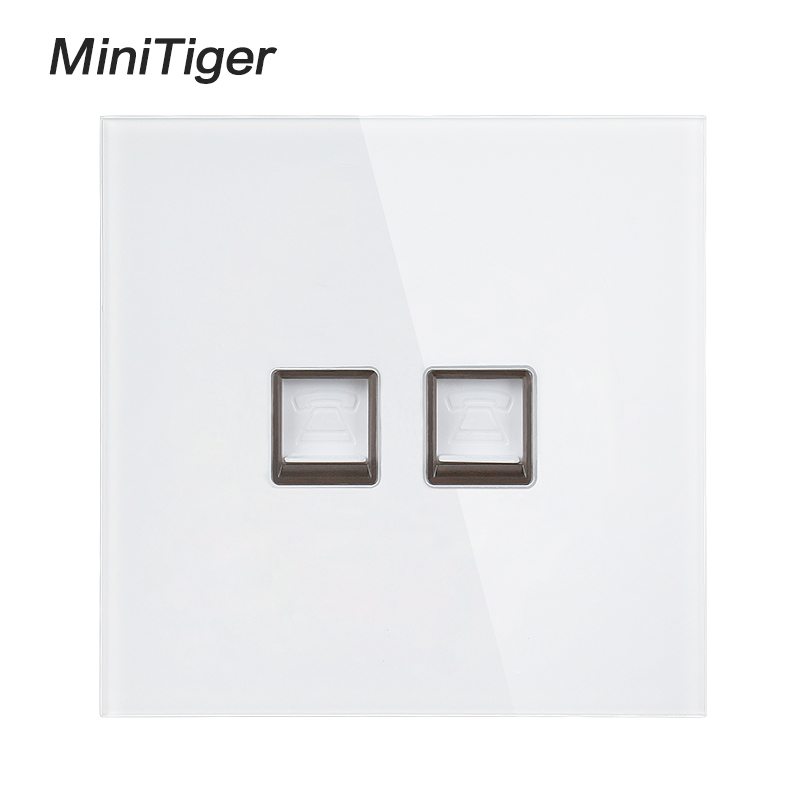 minitiger white luxury crystal tempered glass frame double rj11 tel jack  2gang double telephone socket outlet wiring accessories