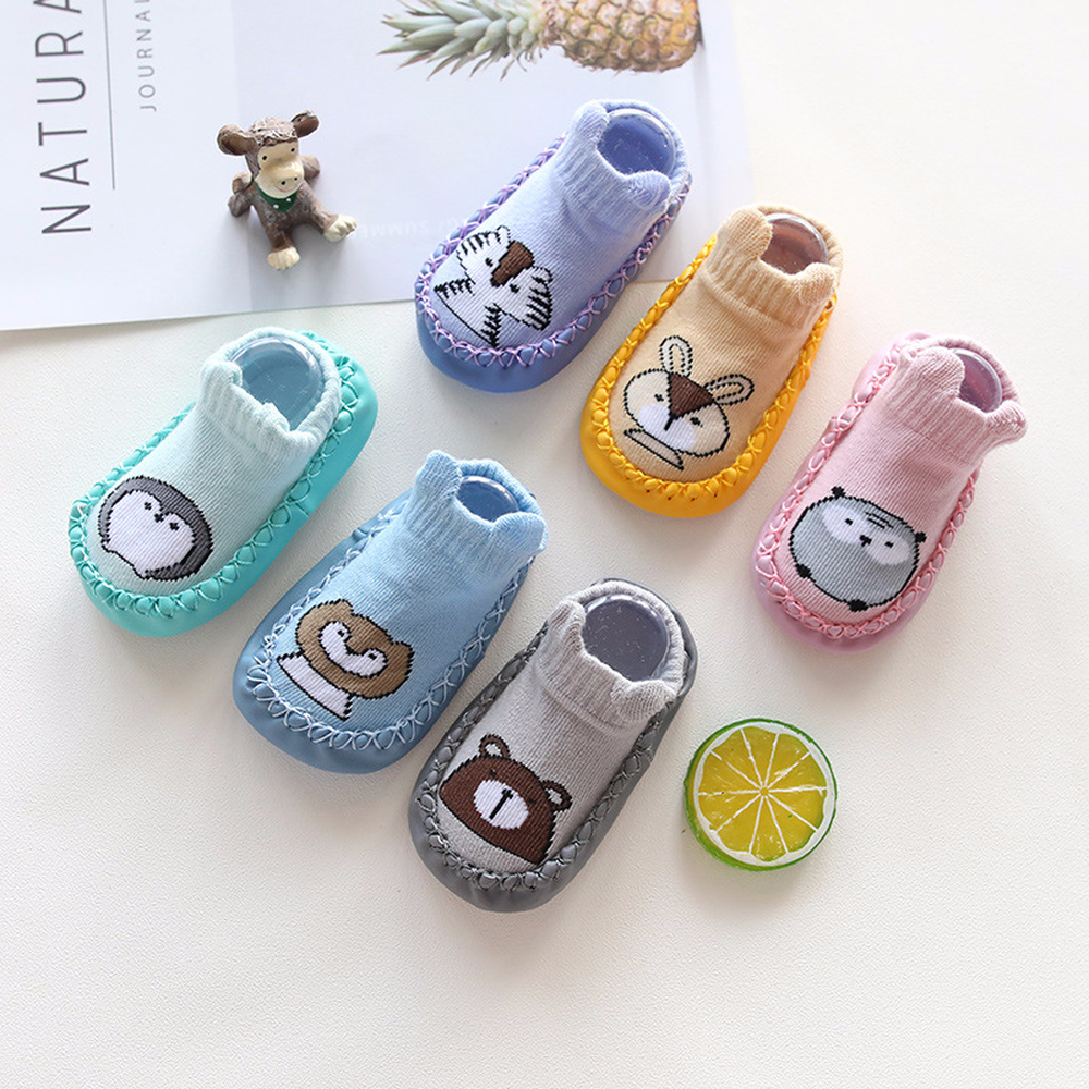 Baby Toddler Shoes And Socks Infant Cartoon Socks Kids Indoor Floor Socks Leather Sole Non-Slip Baby Socks Moccasins Slippers