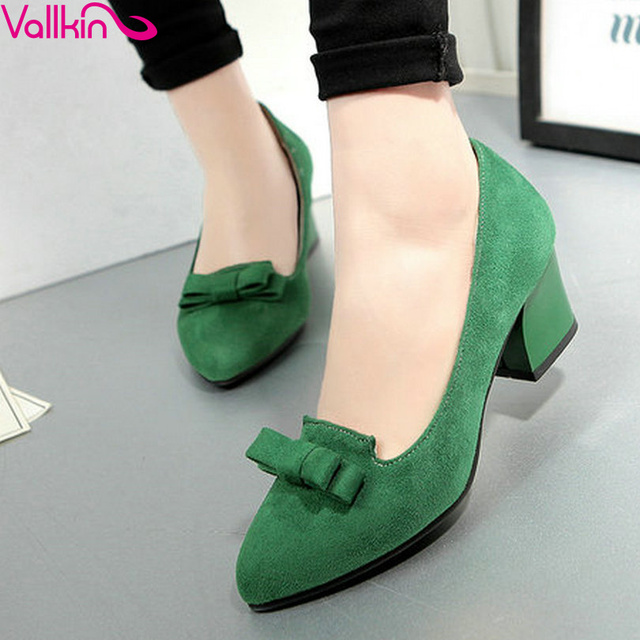VALLKIN Green Bow Tie Pointed Toe Women Pumps Fashion  Thick Heel Summer Flock Women Shoes Slip on Ladies Wedding Shoe