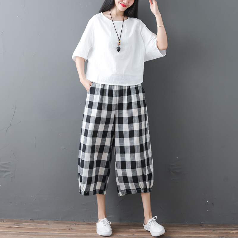 2019 Cotton Linen Two Piece Sets Women Plus Size Half Sleeve Tops And Wide Leg Cropped Pants Casual Vintage Women's Sets Suits 44