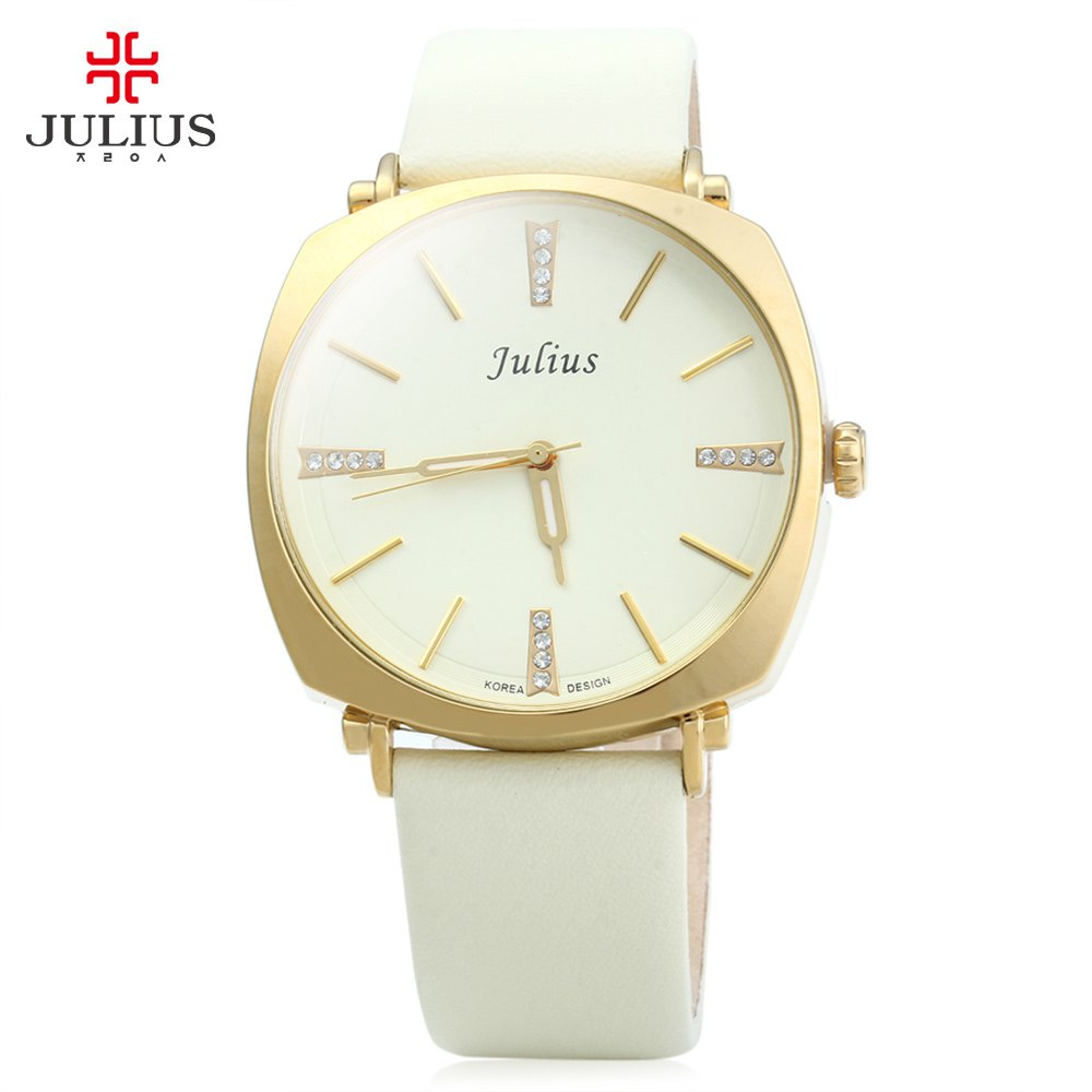 Julius Men Leather Strap Watches, Male Analog Quartz Watch Luminous Pointers Waterproof Wristwatch reloj hombre skone 5051 luminous pointers quartz watch men rotatable bezel wristwatch