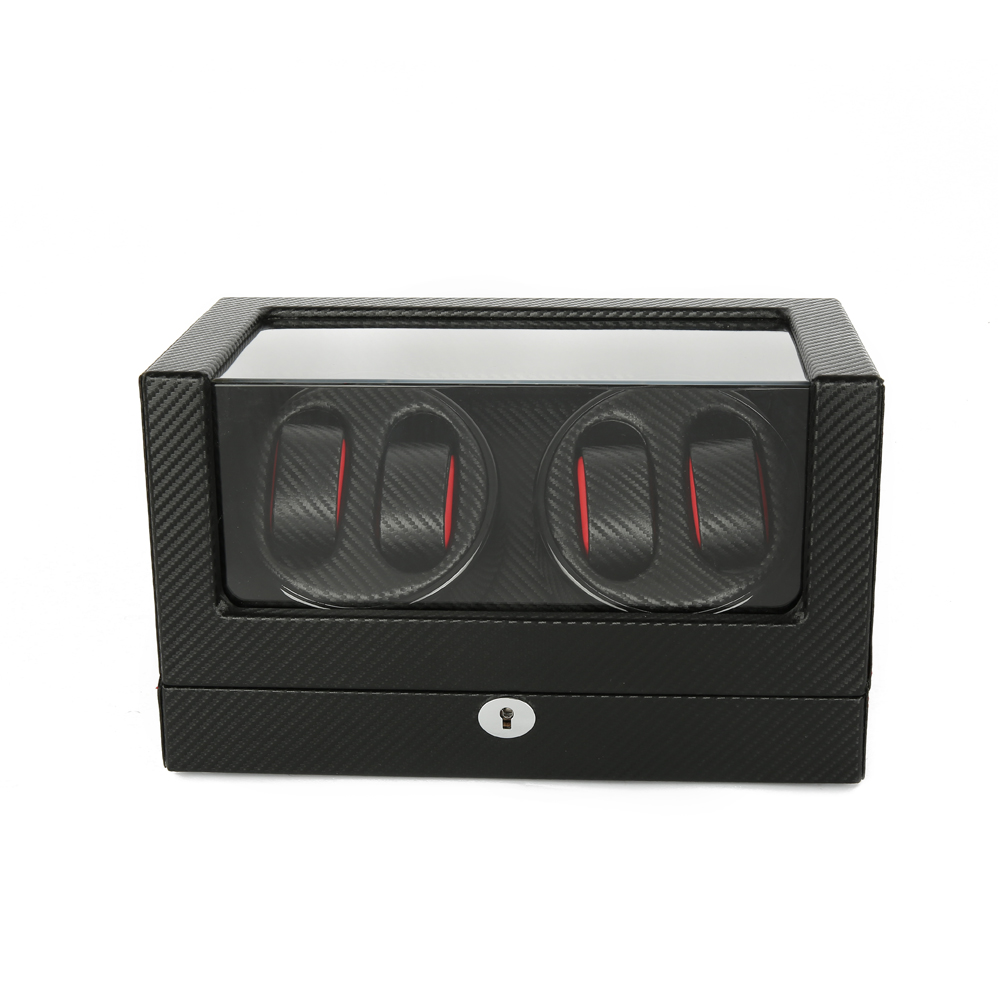 Watch Winder ,LTCJ Wooden Automatic Rotation 4+0 Watch Winder Storage Case Display Box (LB) watch winder lt wooden automatic rotation 2 0 watch winder storage case display box outside is rose red and inside is white