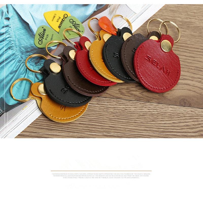 Keychain Guitar Picks Holder Bag Leather Black Guitar Picks Holder Plectrums Case Bag Key ring