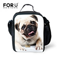 FORUDESIGNS Printing Pug Dog Lunch Bag for Kids Insulated Chilren School Lunch Box Office Ladies Lunchbox Girls Picnic Food Bag