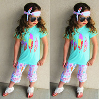 NEW Hot Selling 3pcs Kids Girls Summer Short Sleeve Candy Color Feather Pattern Tops T Shirt
