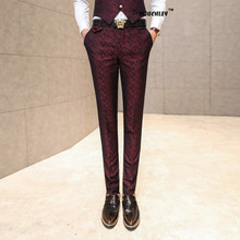 2016 New Wedding Mens Dress Pants Slim Fit Floral Jacquard Print Trousers Korean Design Party Wine Red Perfume Masculino