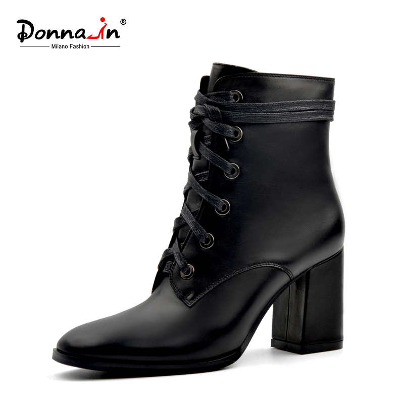 Donna-in 2017 New Spring Autumn Black High Heels Genuine leather Boots Zipper Lace-up Shoes Square Toe Brand Women Shoes