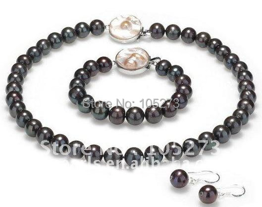 Nice pearl jewelry set AA 10-11MM round shaper black color genuine freshwater pearl necklace bracelet earring new free shipping free shipping alongest 65 genuine natural 11mm black round pearl necklace f1544 a
