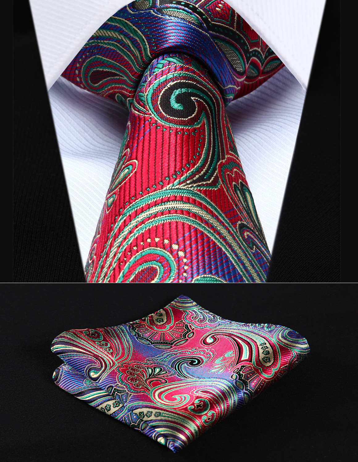 "TP923M8S Red Green Paisley 3.4"" Silk Woven Men Tie Necktie Handkerchief Set Party Wedding Classic Pocket Square Tie"