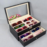 New 12 Slots Decorative Wooden Boxes Display Case Glasses Organizer Eyeglass Sunglass Oversized Storage Box For Decor Craft