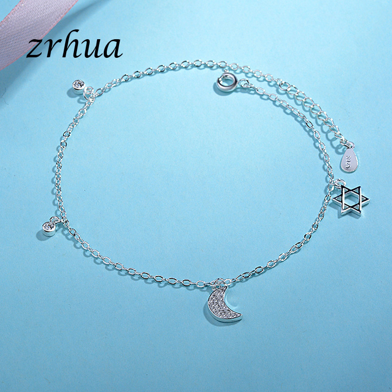 ZRHUA Vintage Fashion 925 Silver Anklets For Women Bohemian Summer Beach Evil Eye Chain Bracelet Foot Jewelry Wholesale Gifts 1