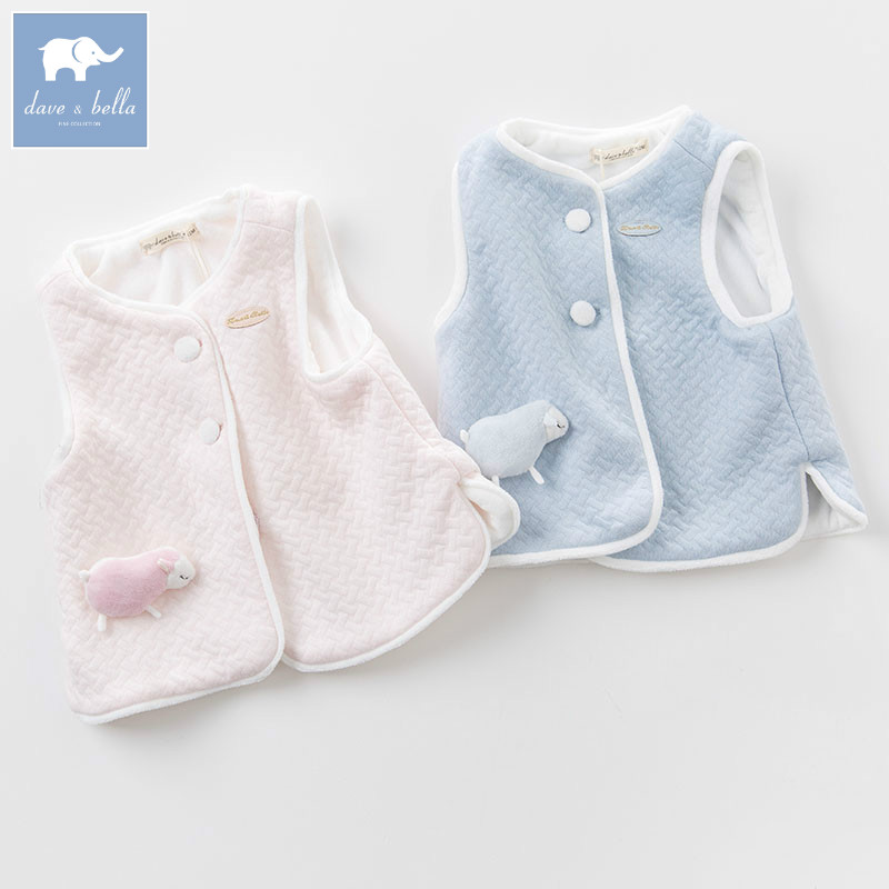 DB6056 dave bella autumn infant baby unisex girls fashion soft coats kids sleeveless vest toddler coat children clothes