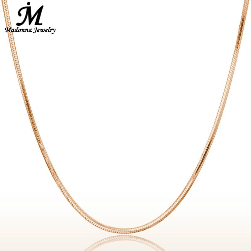 Fashion 18 Inch Men Women Snake Chain Necklace Rose Gold Color For Women link jewelry chain gift Pendant Parts Wholesale