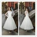 2017 Limited Fashionable Vestidos De Novia Elegant High Collar Lace Bridal Gowns Ankle Length Wedding Dresses V Neck New Arrival