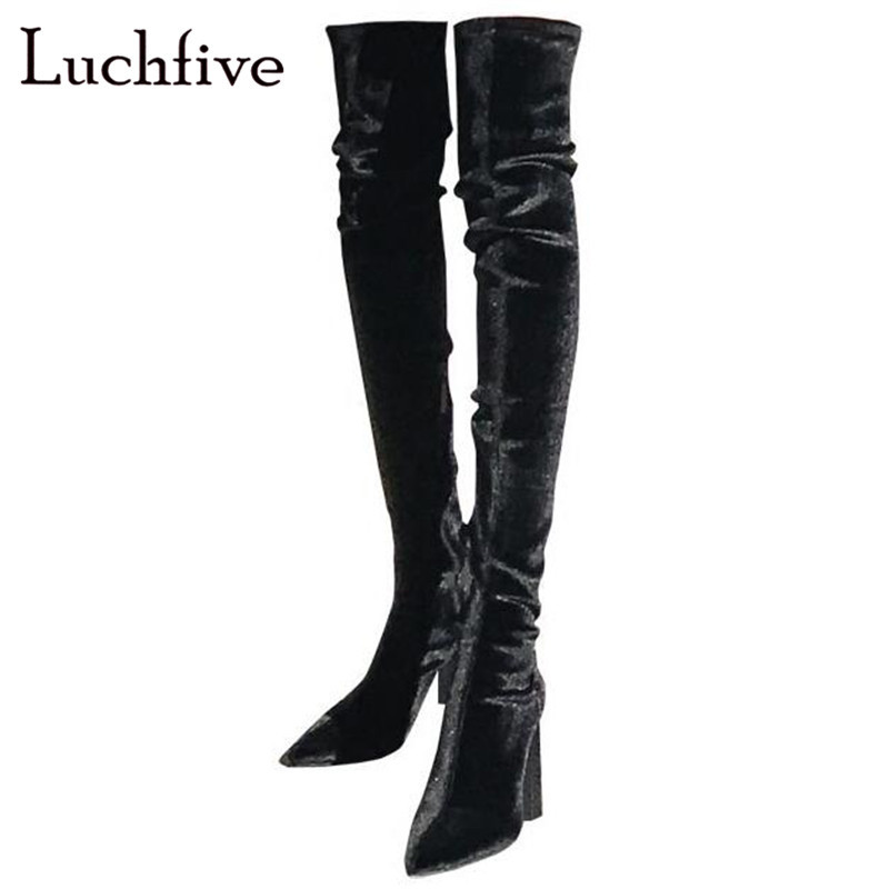 aee40bb4d06 Sexy chunky high heels over the knee boots for women black grey pointy toe  long boots fashion zipper winter boots women