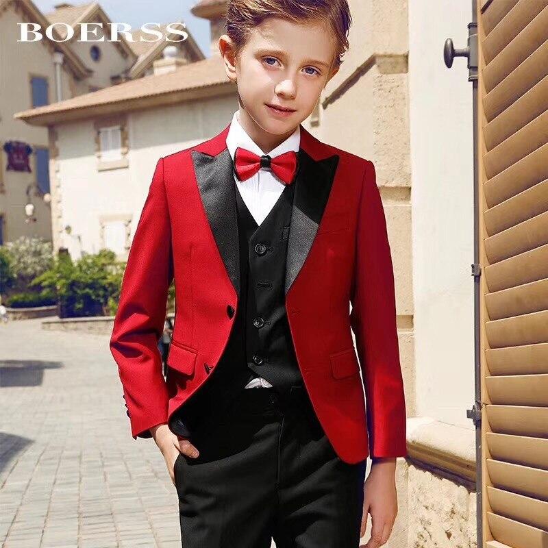 Rouge deux boutons costumes pour enfants cran revers garçon costumes garçon enfant costume mariage fête Tuxedos garçons blazer (veste + pantalon)