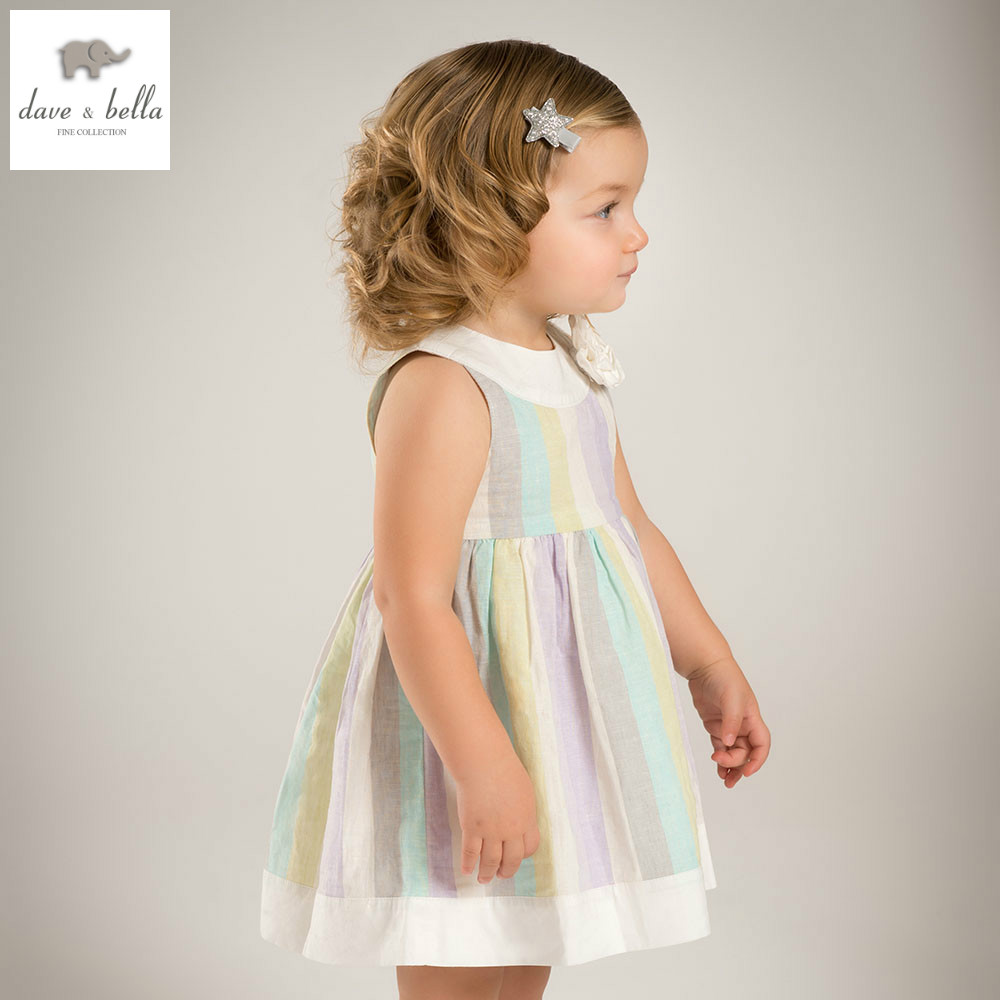 DB4933 dave bella summer baby girls fairy dress infant dress girls lolita dress toddle kids princess chromatic striped dress db1553 dave bella summer baby dress infant clothes girls party dress fairy dress toddle 1 pc kid princess dress