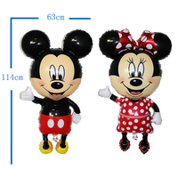 10pcs Large 114cm Giant Mickey Minnie Balloons Big Red Bowknot Standing Mouse Airwalker Balloons Kids Birthday
