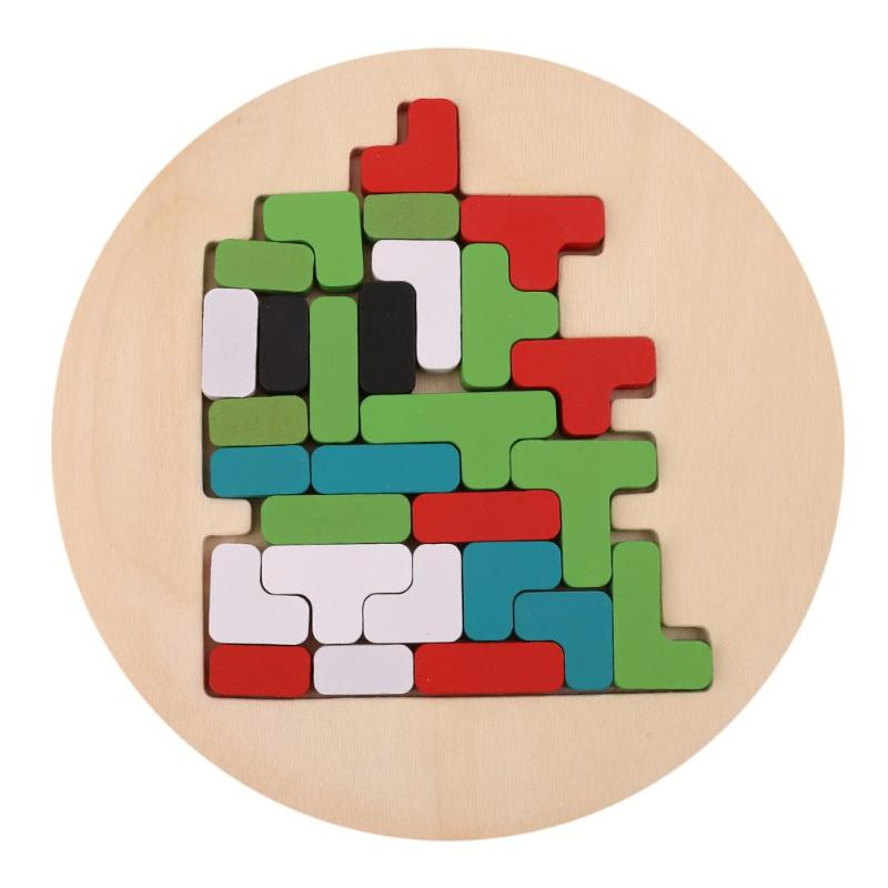 Wood Brain Teaser 3D Puzzle Toys Jigsaw Tetris Game Educational Kid Gift Preschool Magination Intellectual Educational