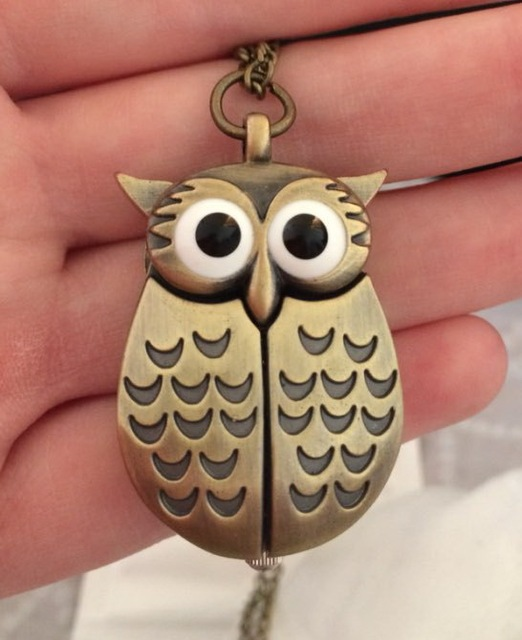 vintage retro classic cute quartz owl pocket watch necklace hour Coupon for whol