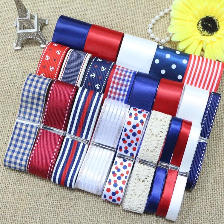 DIY panglică set ---- roșu / albastru / alb culoare set panglică - Arte, meșteșuguri și cusut