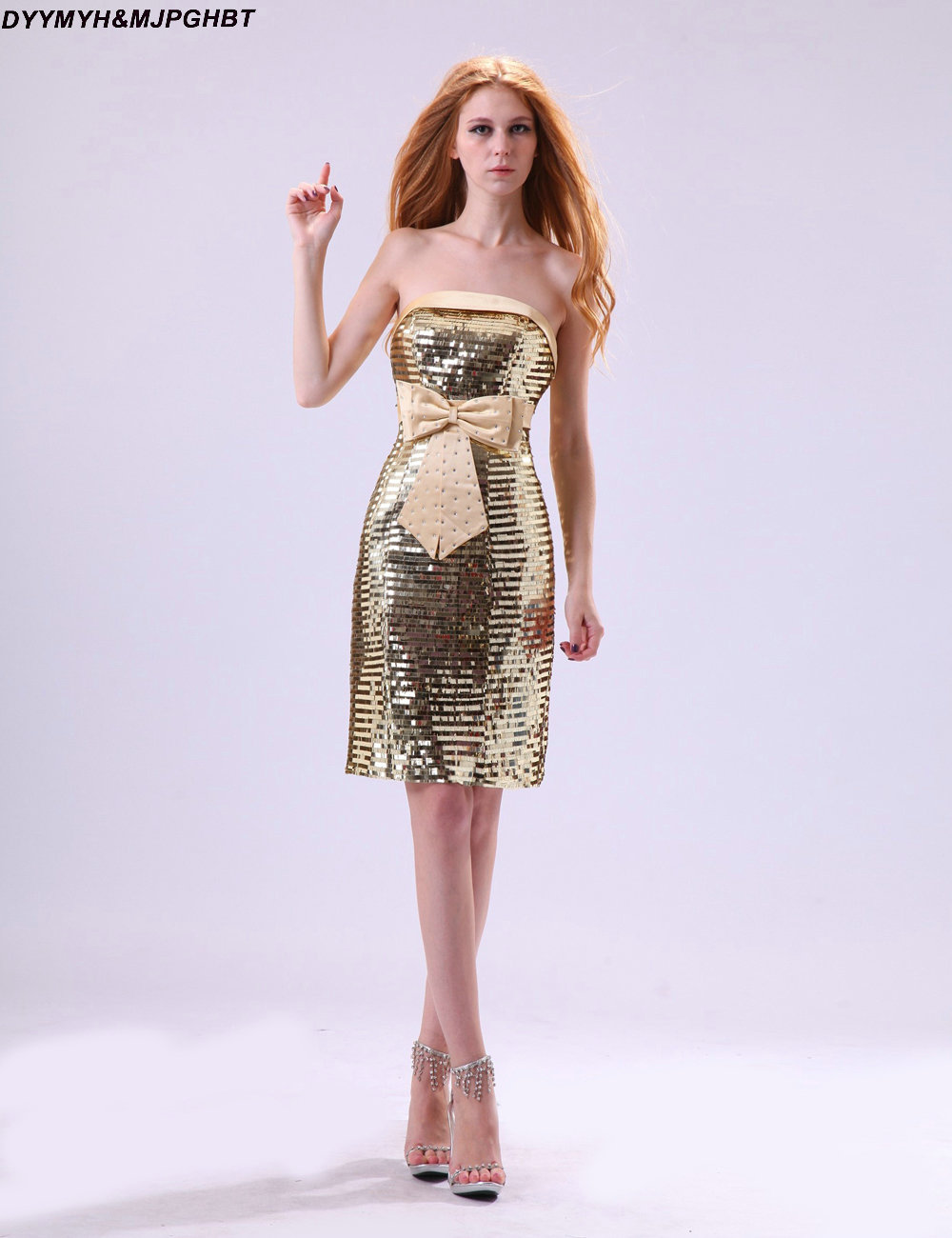 Compare prices on shiny gold sequin bridesmaid dress online shiny blingbling sequin bridesmaid dresses lower back knee length with bow belt gold maid of honor ombrellifo Choice Image