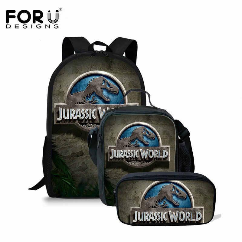 c9d88d97b9 FORUDESIGNS Dinosaur Schoolbags Backpack for Boy Men 3PCS Set Backpack 3D  Animal Print Children Backpack Best