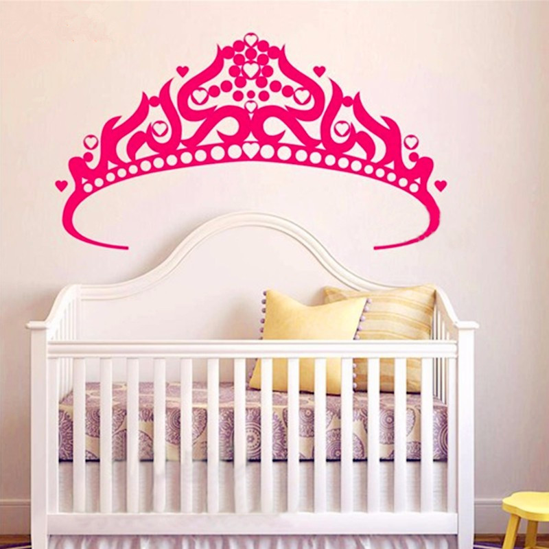 Aliexpress.com : Buy Baby Girl Crown Wall Beautiful Decals Vinyl Sticker  Girls Wall Sticker Wallpaper Princess Girls Bedroom Wall Art Decor D 83  From ... Part 58