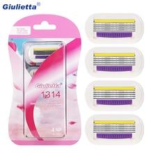 Giulietta сменные лезвия бритвы 4 слоя Безопасные лезвия для бритья из нержавеющей стали женские бритвы 4 шт./лот Venus женские лезвия