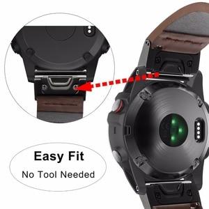 Image 4 - Quick Fit Genuino Cinturino In Pelle 20/22/26mm per Garmin Fenix 5X/5X Plus/5 s/5/3/3HR/Forerunner 935 Watch Band Cinturino Bracciale