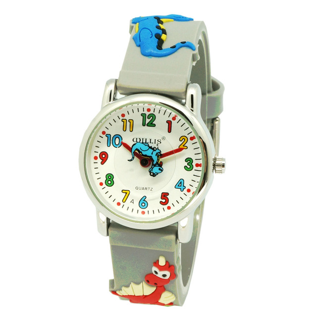 Latest Style 3D High Quality Waterproof Kids Watch Dinosaur 3D Silicone Strap Design Watches for Girl Students Boy Children