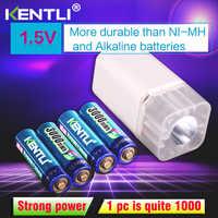 4 pièces KENTLI 1.5 v 3000mWh li-polymère li-ion rechargeable au lithium AA batterie batteries + 4 slots Chargeur avec lampe de poche LED