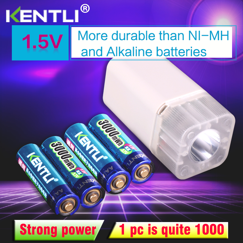 4pcs KENTLI 1 5v 3000mWh Li polymer li ion lithium rechargeable AA battery batteries 4 slots