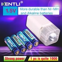 4 шт. KENTLI 1,5 v 3000mWh литий-полимерная литий-ионная аккумуляторная батарея аа батареи + 4 слота зарядное устройство с светодиодный фонарик