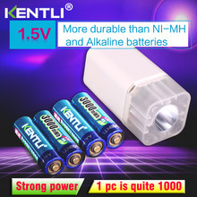 4pcs KENTLI 1.5v 3000mWh Li-polymer li-ion lithium rechargeable AA battery batteries + 4 slots Charger with LED flashlight(China)