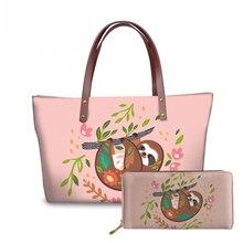NOISYDESIGNS Shoulder Tote Bags for Women Cute Animal Sloth Printing Purse&Handbags Ladies 2pcs/set Top-Handle Bag Females Bolsa