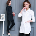Women Plus Size Full Sleeve Cotton Shirts Female Loose Long Solid Oversized Blouses