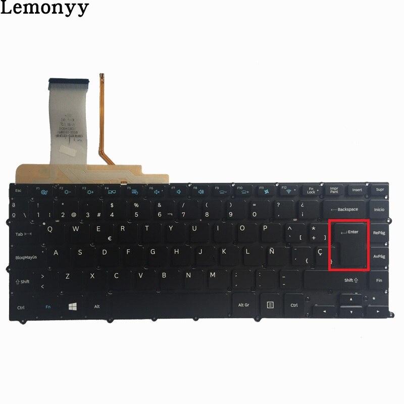 НОВЫЙ Испанский клавиатура для SAMSUNG np900x4 NP900X4B NP900X4C NP900X4D SP Клавиатура ноутбука подсветкой без рамки Большой Введите