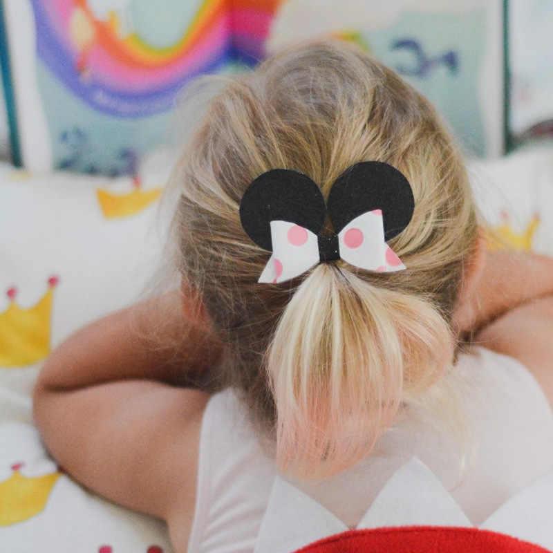 Nishine Glitter cuero pinzas para el pelo con lazo para niñas arco de pelo Barrette horquillas Niños Accesorios para el cabello regalos de cumpleaños sesión de fotos