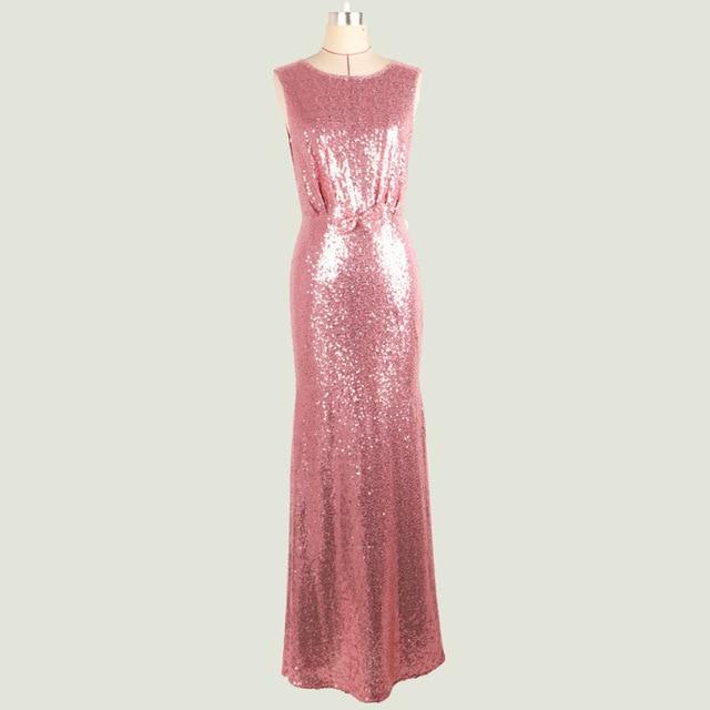 Luxury Pink Gold Silber Lange Pailletten kleid Bogen O Neck ...