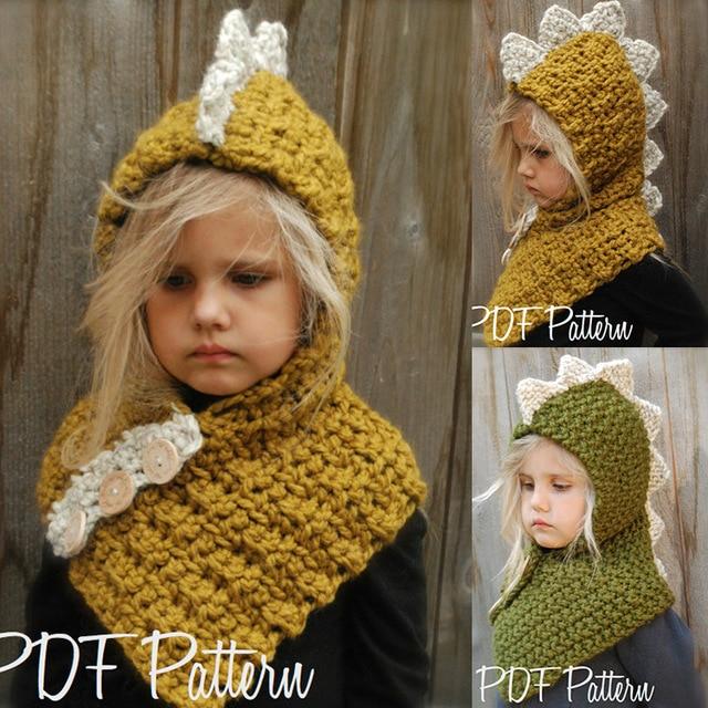 500d9adc6c3bb Nuevo otoño y el invierno Bebé sombrero gorro de lana niños pieza niño  grande dinosaurio niño