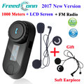 2017 New Version TCOM-SC Bluetooth Motorcycle Interphone Headset Helmet Intercom LCD Screen with FM Radio + Extra Soft Earpiece