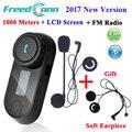 2017 Nova Versão TCOM-SC Interfone Do Bluetooth Motocicleta Capacete Interfone Headset Tela LCD com Rádio FM + Fone de Ouvido Extra Macio
