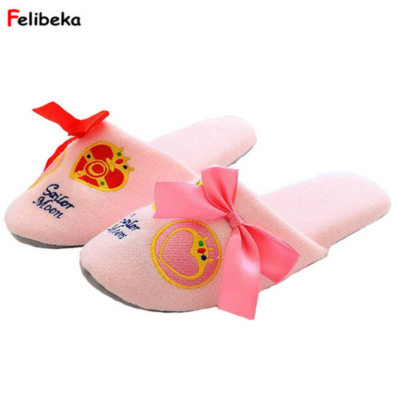 Women's Bow Tie Indoor Slipper Home Anti-Slip Winter Soft Warm Shoes Non-Slip Floor House Furry Slippers Women Shoes For Bedroom women s winter furry slippers home non slip soft couples cotton thick bottom indoor warm rubber clogs woman shoes