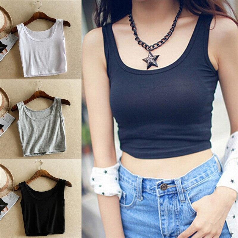 Slim Render Short   Top   Sleeveless U Croptops Summer   Tank     Tops   Solid Black/White/Gray Crop   Tops   Vest Tube   Top   3Color