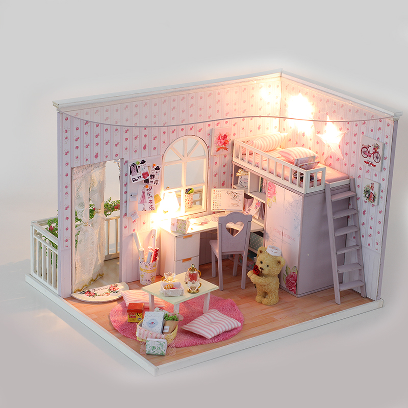 Doll House Furniture Diy Miniature Dust Cover 3D Wooden  Dollhouse Toys Birthday for Children  best selling 2017 products cutebee doll house miniature diy dollhouse with furnitures wooden house toys for children birthday gift best tours a 027