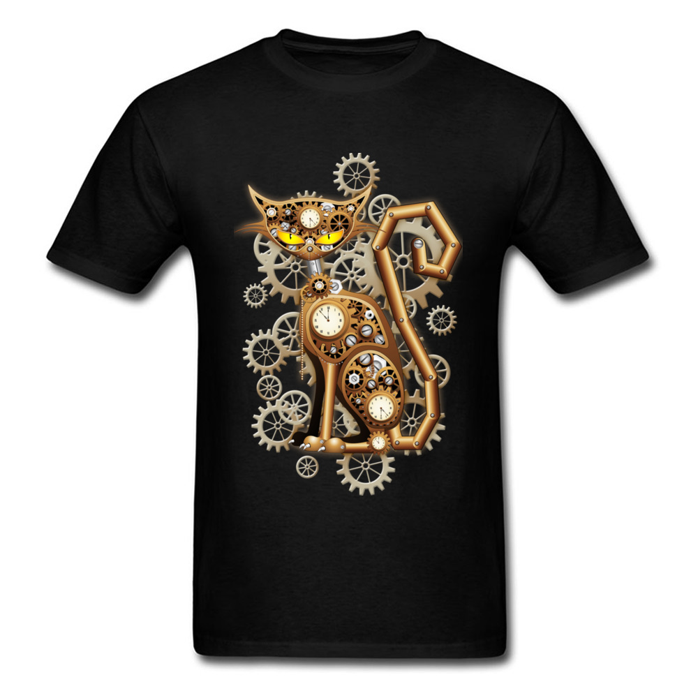 Family Steampunk Cat Vintage Copper Toy Tops   T     Shirt   for Men Oversized Mother Day Round Neck Cotton Fabric   T     Shirts   Tee-  Shirts